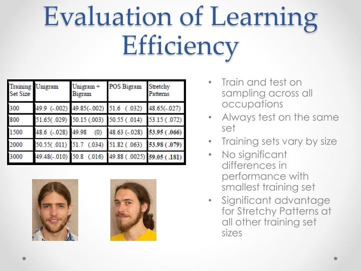 Evaluation of Learning Efficiency