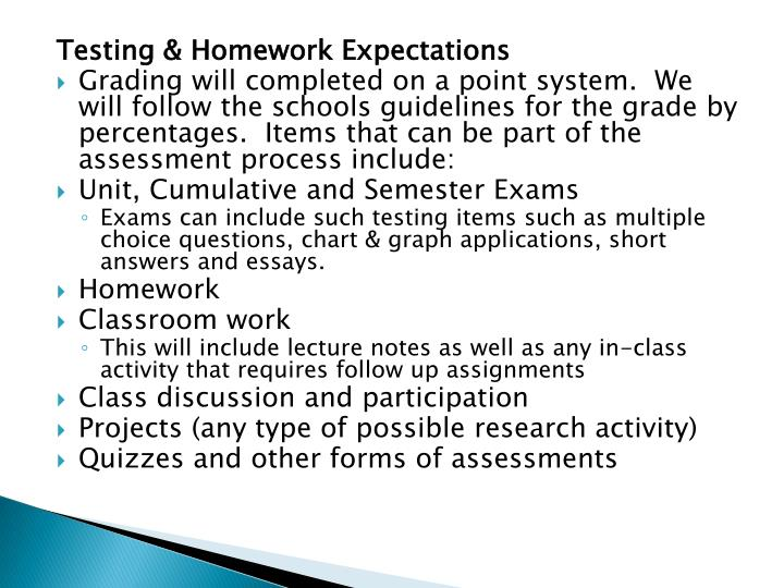 Testing & Homework Expectations