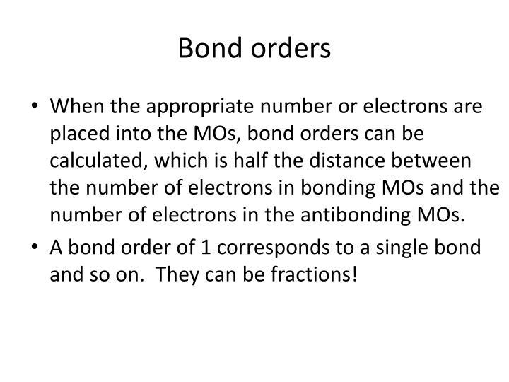 Bond orders