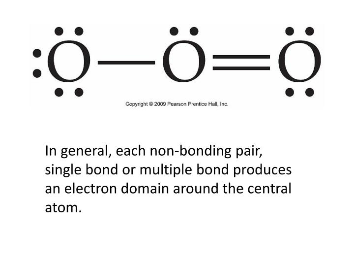 In general, each non-bonding pair, single bond or multiple bond produces an electron domain around the central atom.