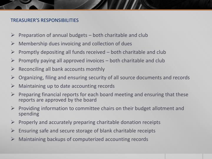 TREASURER'S RESPONSIBILITIES
