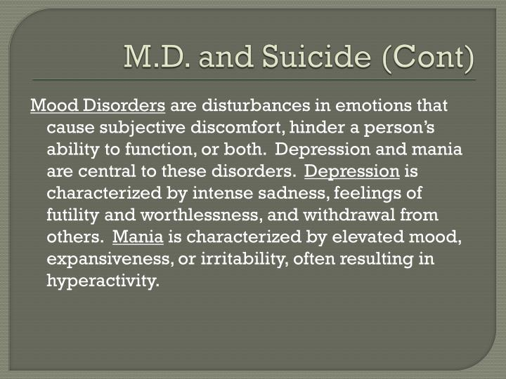 M.D. and Suicide (Cont)