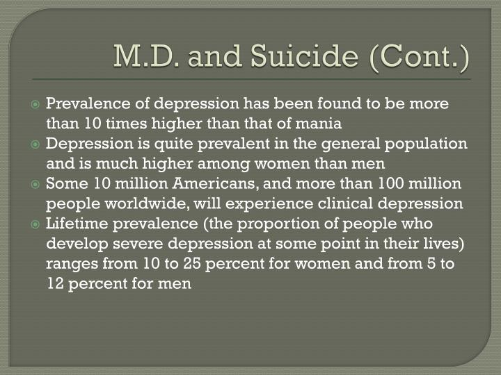 M.D. and Suicide (Cont.)