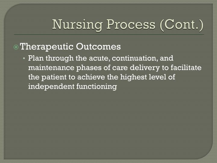 Nursing Process (Cont.)
