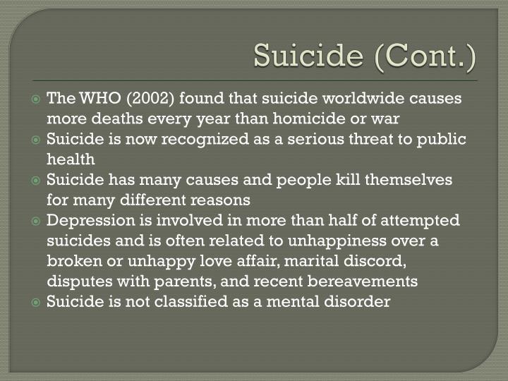 Suicide (Cont.)