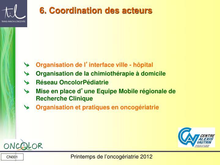 6. Coordination des acteurs