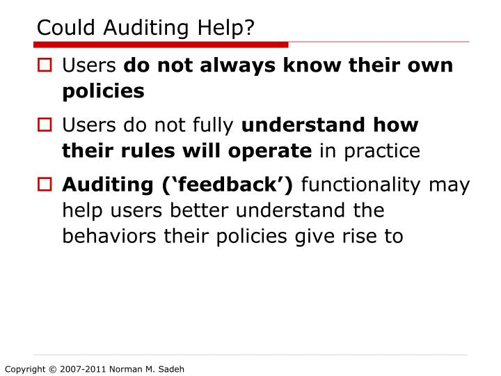 Could Auditing Help?