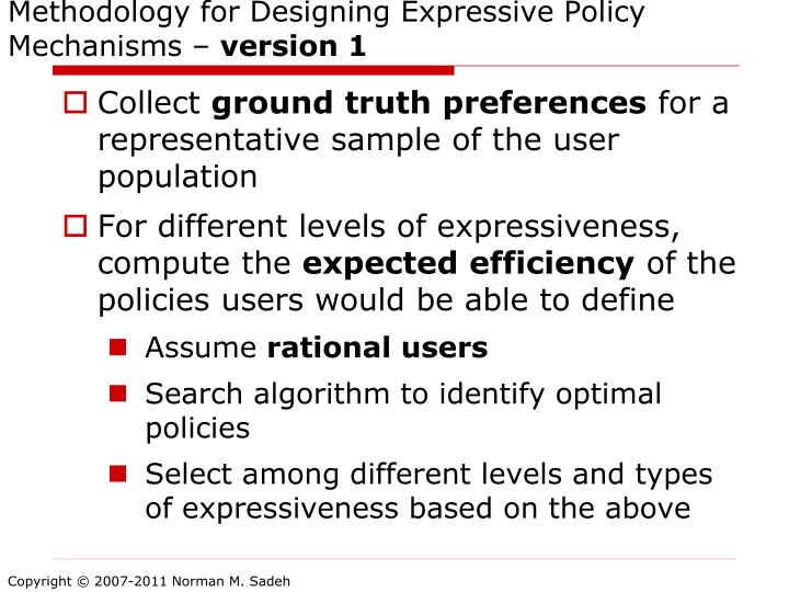 Methodology for Designing Expressive Policy Mechanisms –