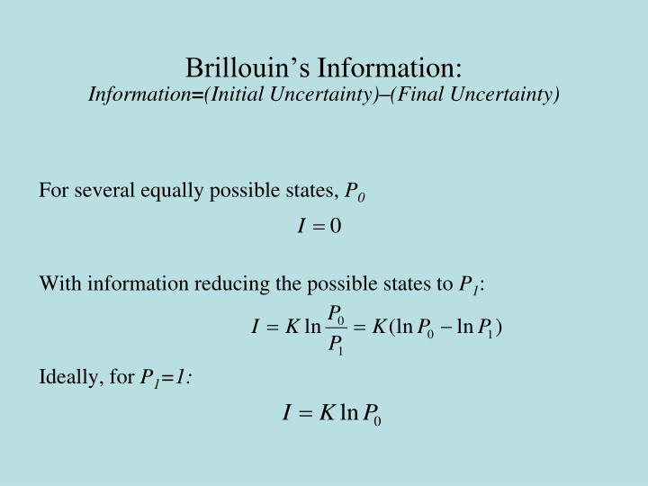Brillouin s information information initial uncertainty final uncertainty