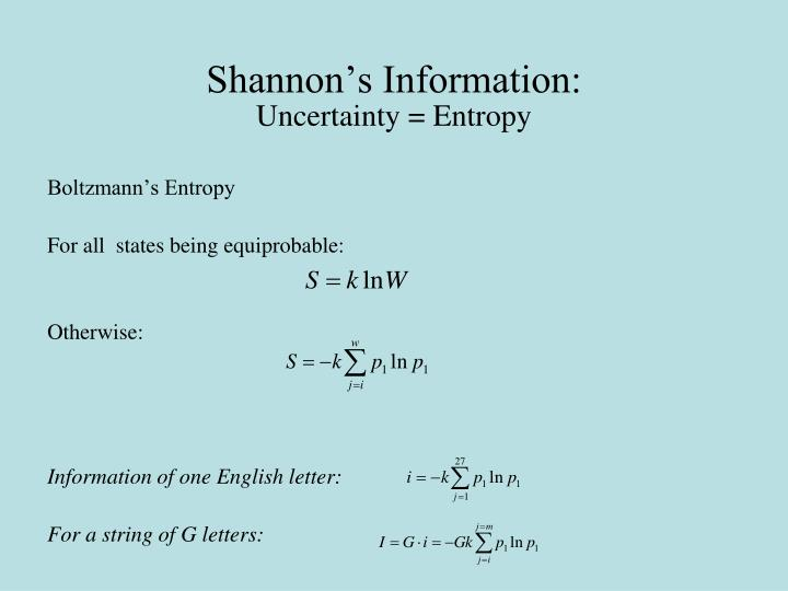 Shannon's Information: