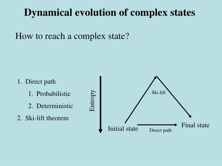 Dynamical evolution of complex states