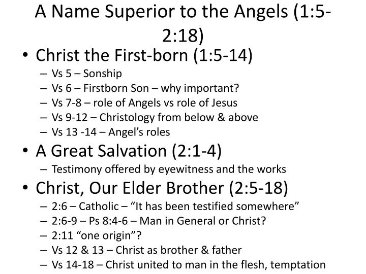 A Name Superior to the Angels (1:5-2:18)