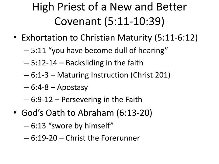 High Priest of a New and Better Covenant (5:11-10:39)