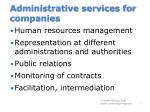 administrative services for companies
