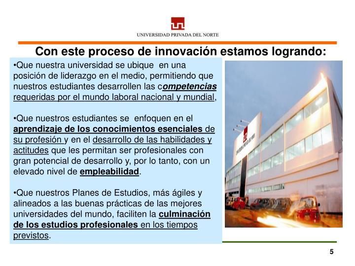 Con este proceso de innovación estamos
