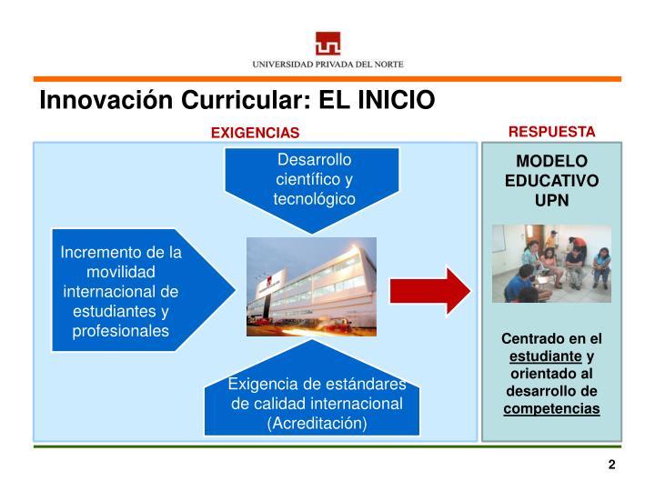 Innovación Curricular: EL INICIO