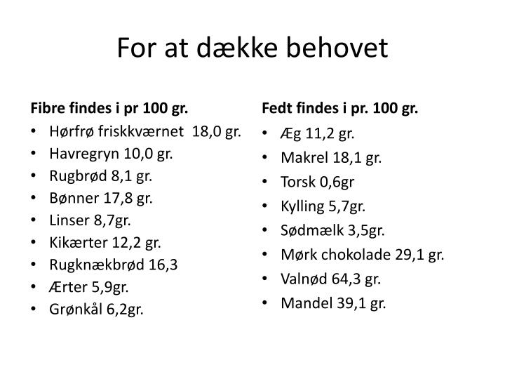 For at dække behovet