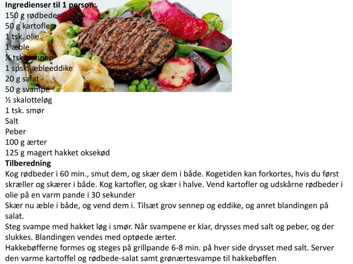 Ingredienser til 1 person: