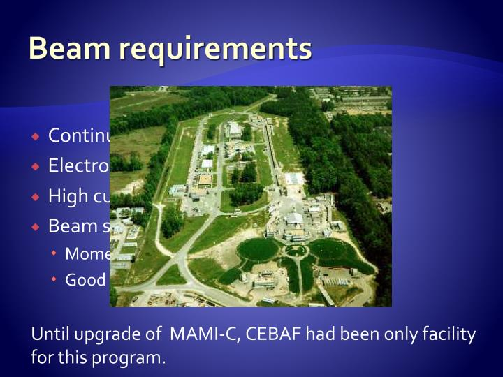 Beam requirements