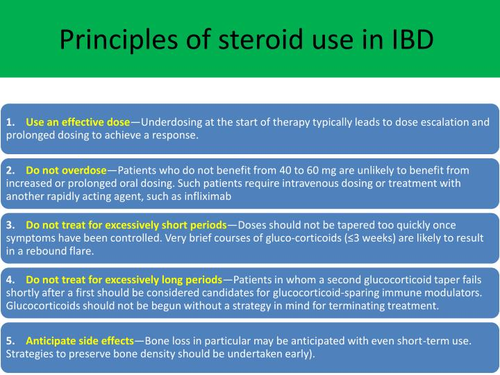 Principles of steroid use in IBD