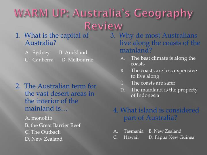 an introduction to the culture and geography of australia The geography of australia encompasses a wide variety of biogeographic  regions being the world's smallest continent but the sixth-largest country in the  world.