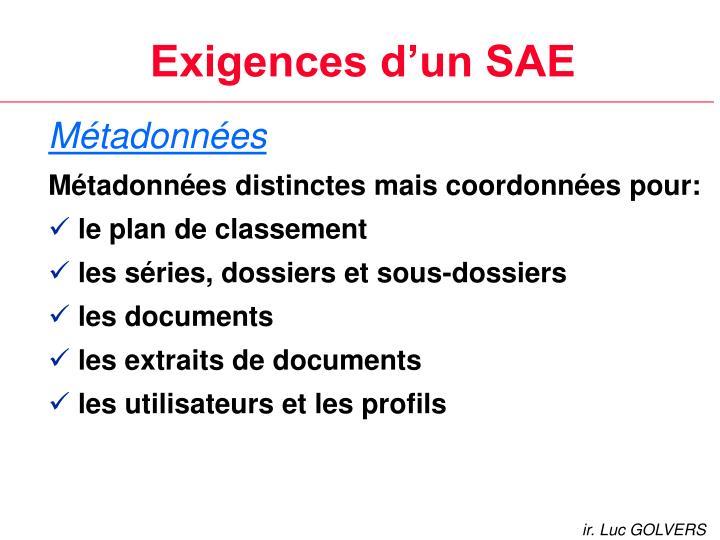 Exigences d'un SAE