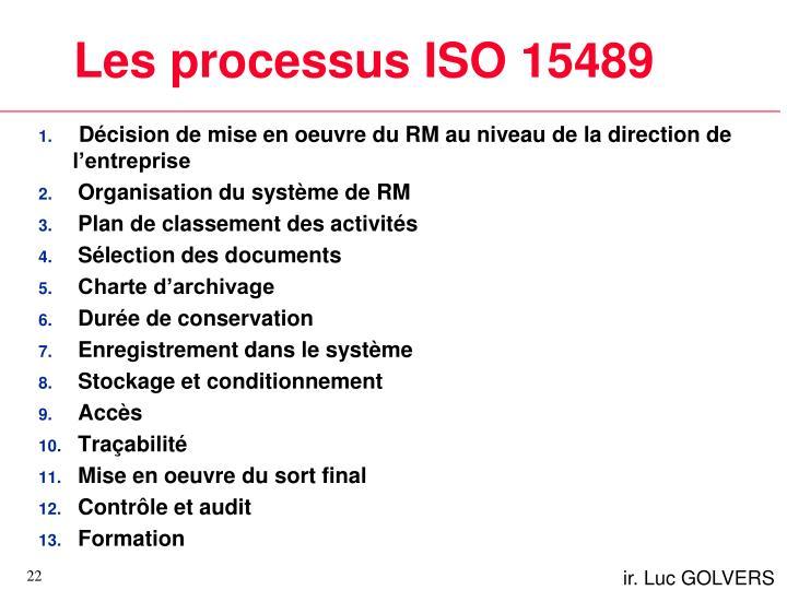 Les processus ISO 15489