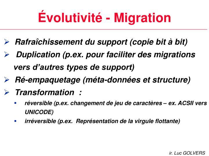 Évolutivité - Migration
