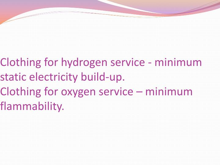 Clothing for hydrogen service - minimum static electricity build-up.