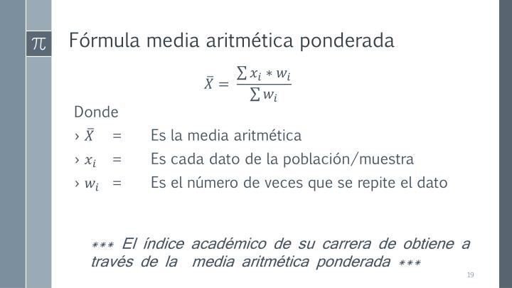 Fórmula media aritmética ponderada