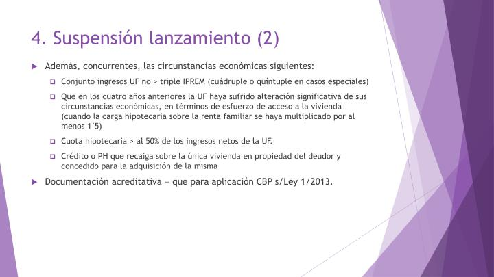 4. Suspensión lanzamiento
