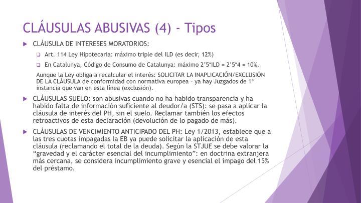 CLÁUSULAS ABUSIVAS (4) - Tipos