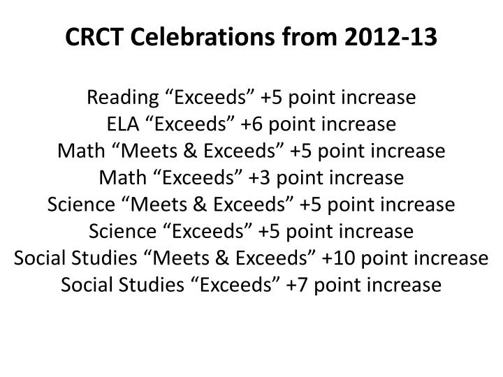 CRCT Celebrations from 2012-13
