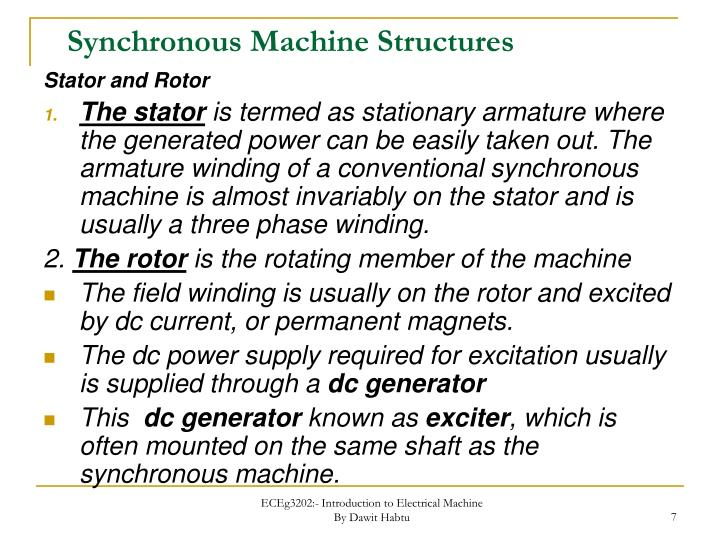 Synchronous Machine Structures