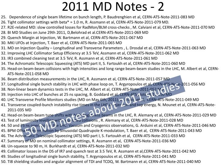 2011 MD Notes - 2