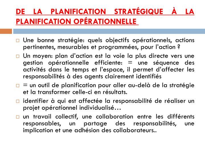 De la planification stratégique à la planification opérationnelle