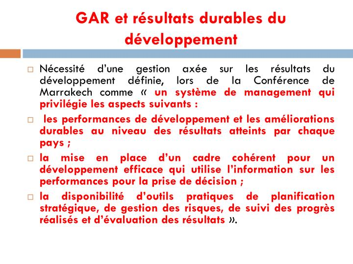GAR et résultats durables du développement