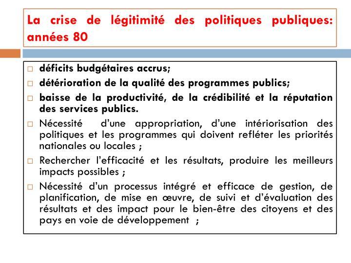 La crise de légitimité des politiques publiques: années 80