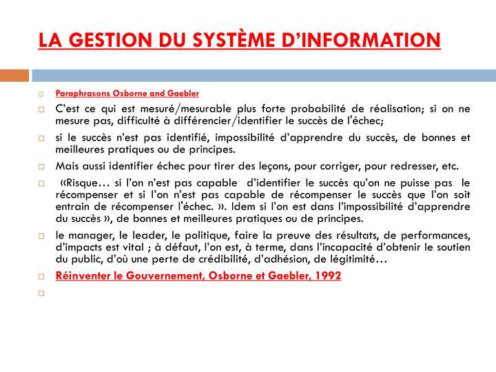 La gestion du système d'information