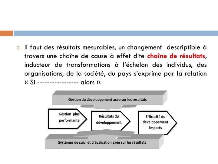 Il faut des résultats mesurables, un changement  descriptible à travers une chaîne de cause à effet dite