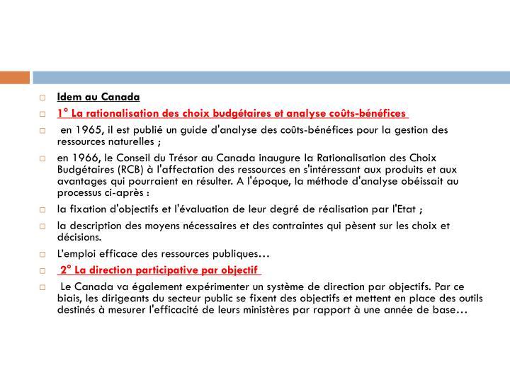 Idem au Canada