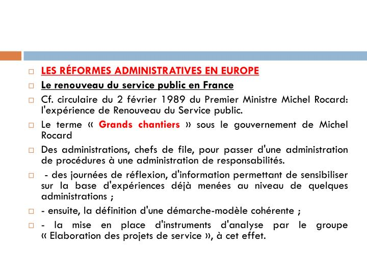 les réformes administratives en Europe