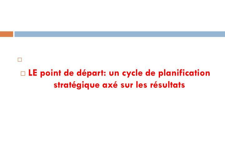 LE point de départ: un cycle de planification stratégique axé sur les résultats
