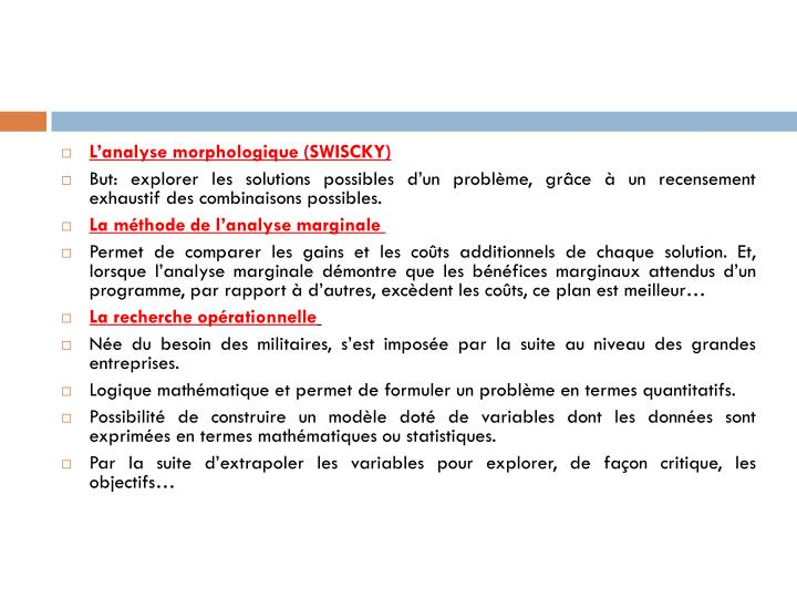 L'analyse morphologique (SWISCKY)