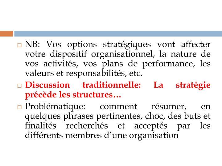 NB: Vos options stratégiques vont affecter votre dispositif organisationnel, la nature de vos activités, vos plans de performance, les valeurs et responsabilités, etc.