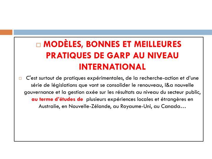 Modèles, bonnes et meilleures pratiques de GARP au niveau international