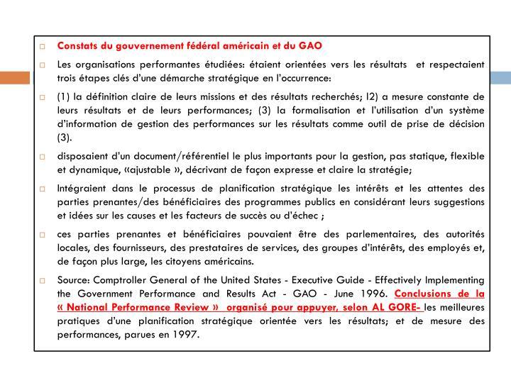 Constats du gouvernement fédéral américain et du GAO