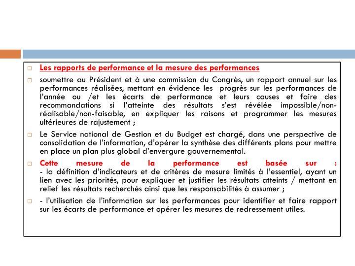 Les rapports de performance et la mesure des performances