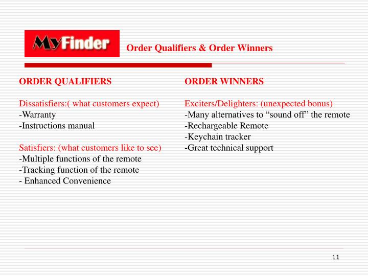 Order Qualifiers & Order Winners