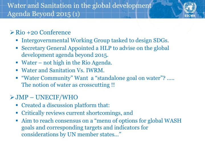 Water and Sanitation in the global development Agenda Beyond 2015